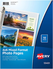 Avery 13401 4r Mixed Format Photo Pages For Binder 6 Photos Per Page 10 Pack