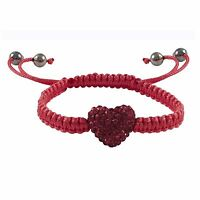 Hot Pink Crystal Heart Macrame Shamballa Inspired Girls Bracelet