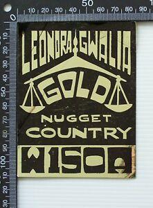 VINTAGE LEONORA GWALIA GOLD NUGGET COUNTRY AUSTRALIA PROMO CAR STICKER DECAL