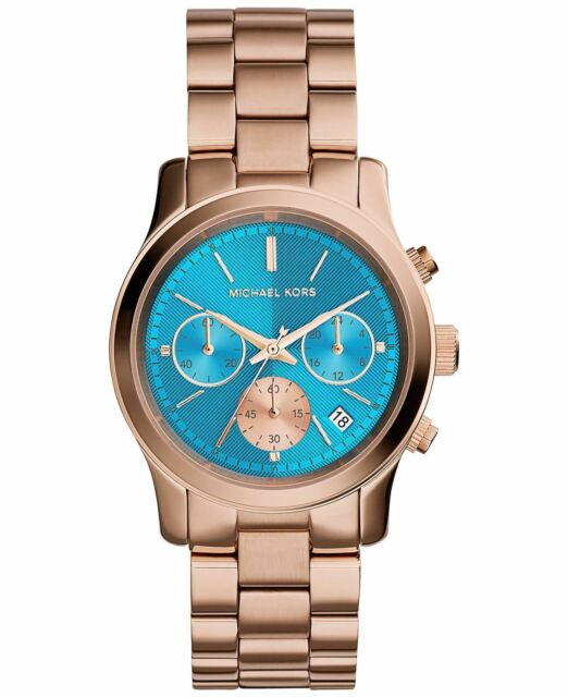 Michael Kors Ladies Runway Chronograph Watch Gold PVD Blue Dial MK6164