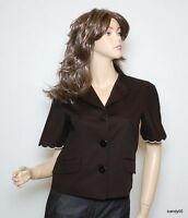 $425 Love Moschino Shirt Sleeve Stretch Cotton Jacket Blazer Top Black 6
