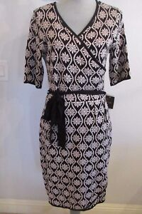 Nwt Just Taylor L Amp Xl Black Taupe Faux Wrap Sweater Dress