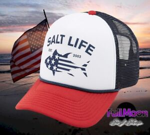 23cfb662d68 New Salt Life Red White   Bluefin Mens Snapback Trucker Cap Hat