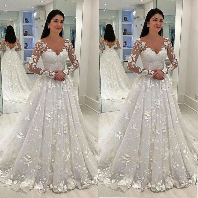 Applique Long Sleeve Wedding Dresses V Neck White Ivory Bridal Gowns Plus Size