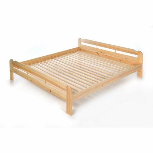 200x200 cm Massives Holz-Bett Doppelbett mit Lattenrost aus Kiefer massiv