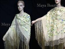 "Flamenco Embroidere?d Silk Piano Shawl Wrap Pastels Flower & Birds Greens 90"""