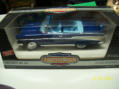 ERTL 1//18 1957 Chevy Bel-Air Convertible HARBOR BLUE 7498 NEW American Muscle 57