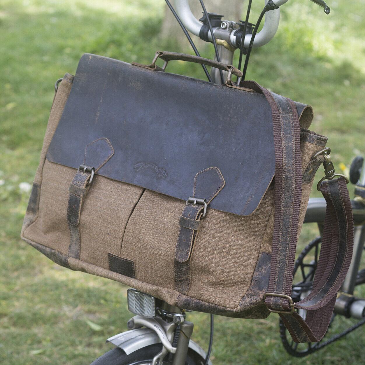 Neue handgemachte Messenger Tasche für BROMPTON im LICHT braun für S M H P