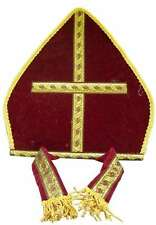 Red Bishop Hat Costume Cap Pope Priest Church Abbot Gold Mitre Miter Clergy Gold