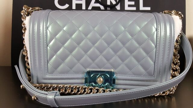 BNWT AUTH CHANEL LE BOY Medium Light Blue Pearl Patent Leboy Bag Silver HW  2016 c842055c2439c