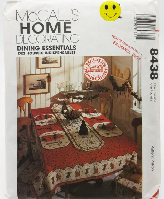 Tablecloth Napkins Runners Placemats Chair Pads Sewing Pattern 8438 McCalls New