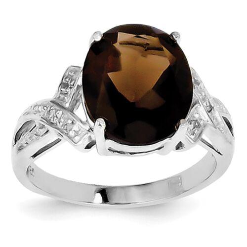 Sterling Silver Rhodium Plaqué QUARTZ FUMÉ /& Bague Diamant QDX704 Taille 6-8