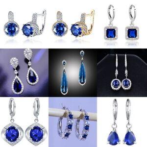 Luxury 925 Silver Blue Sapphire Drop Dangle Earrings Wedding Engagement Jewelry