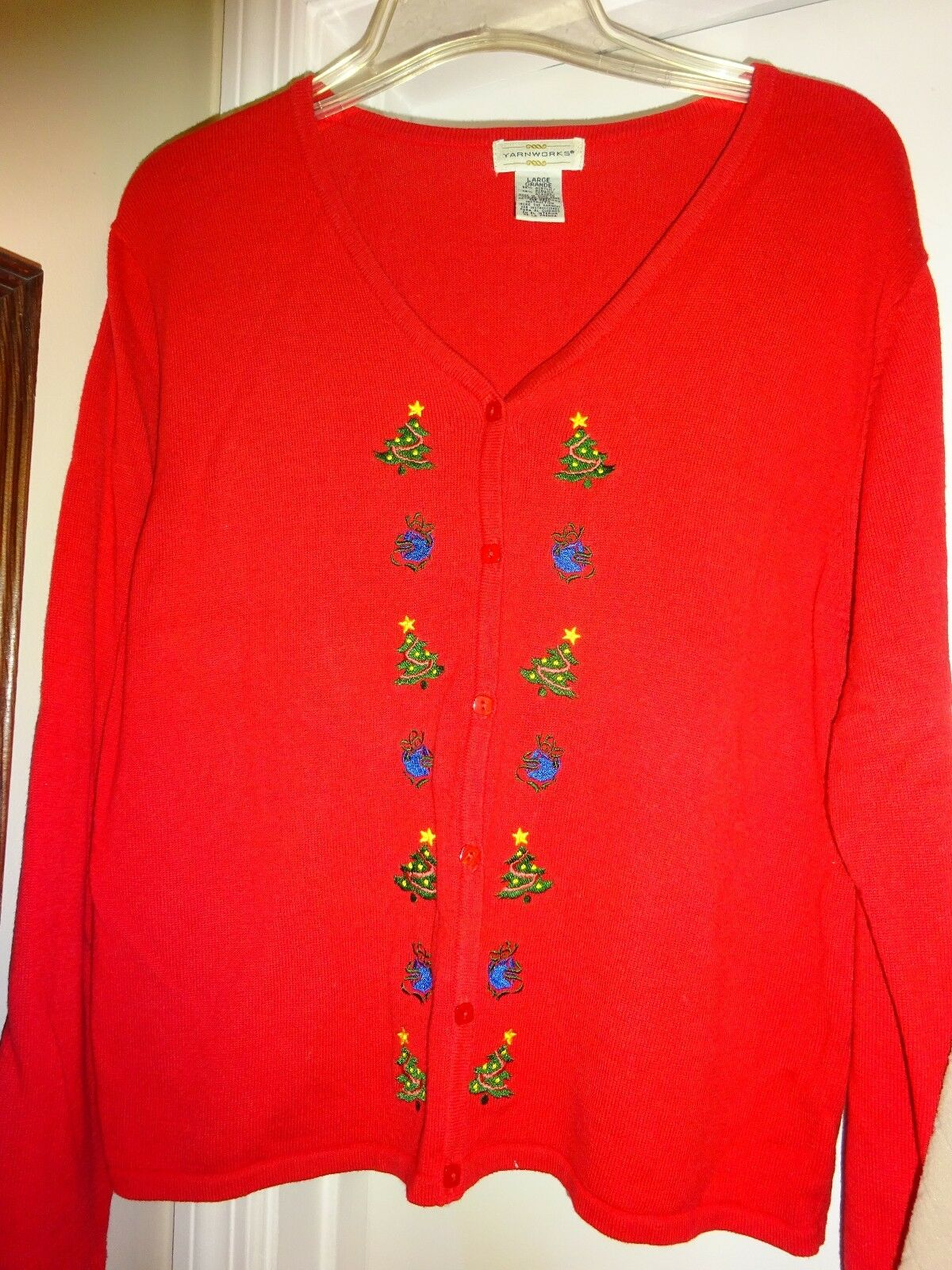 Yarnworks Yarn Works Ladies Red Size Large Button Front Sweater Acrylic Cotton