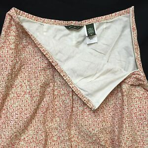 Eddie-Bauer-Skirt-Size-Tall-6-Pink-Dot-Pixel-Ombre-Mid-Calf-Lined-Cotton-Spring