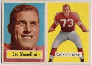1957-Topps-6-Leo-Nomellini-VG-VGEX-Crease-San-Francisco-49ers-FREE-SHIPPING