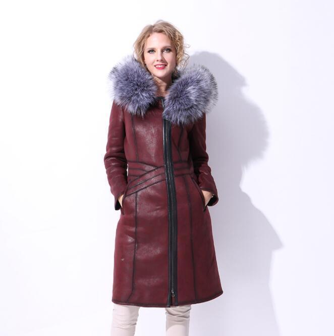 Luxury Womens Winter Big Fur Collar Leather Coats Trendy Warm Slim Long Parkas