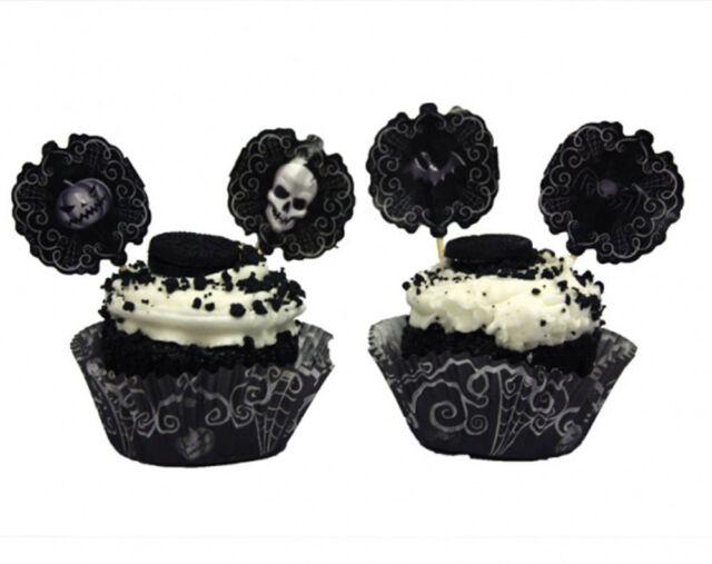 48 x Halloween Cupcake decorating Kit cupcake cases & Picks fright night skulls