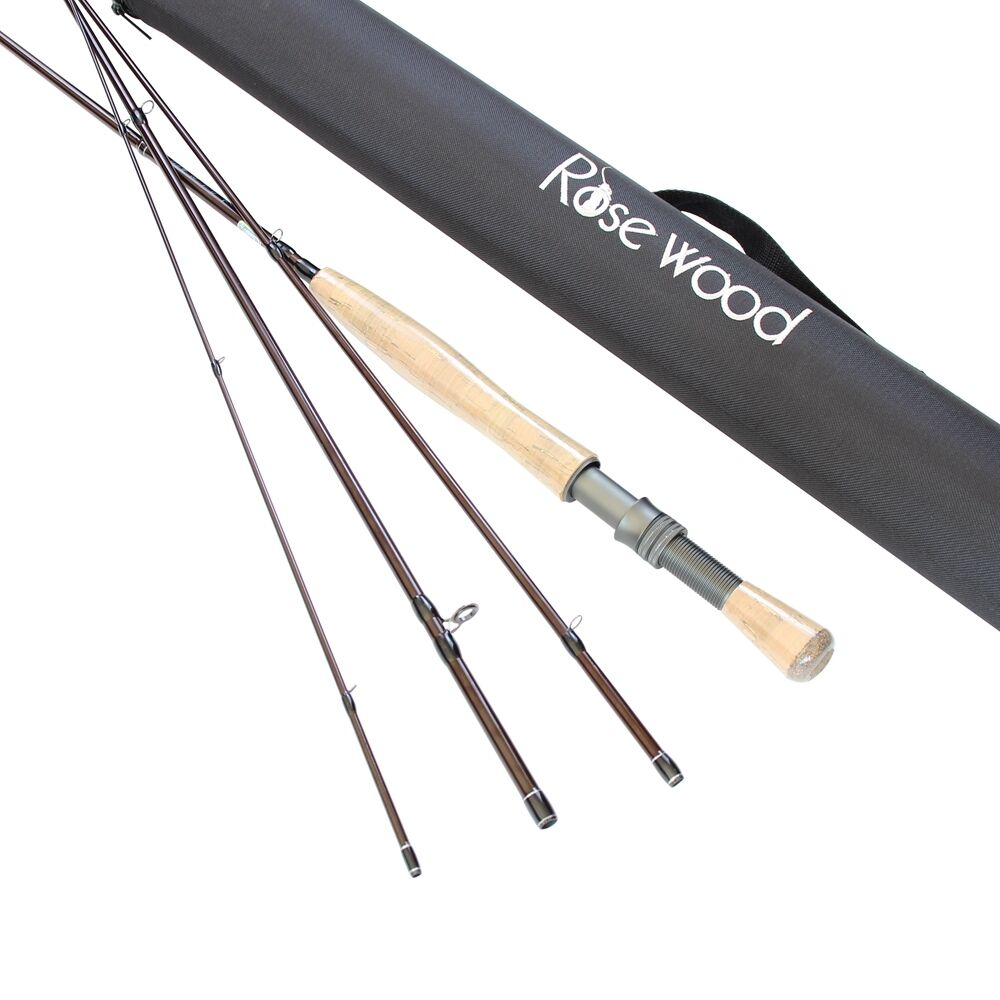 pinkWOOD FLY FISHING QUALITY ROD FAST ACTION 4 PIECES 2.7 M + FREE HARD TUBE