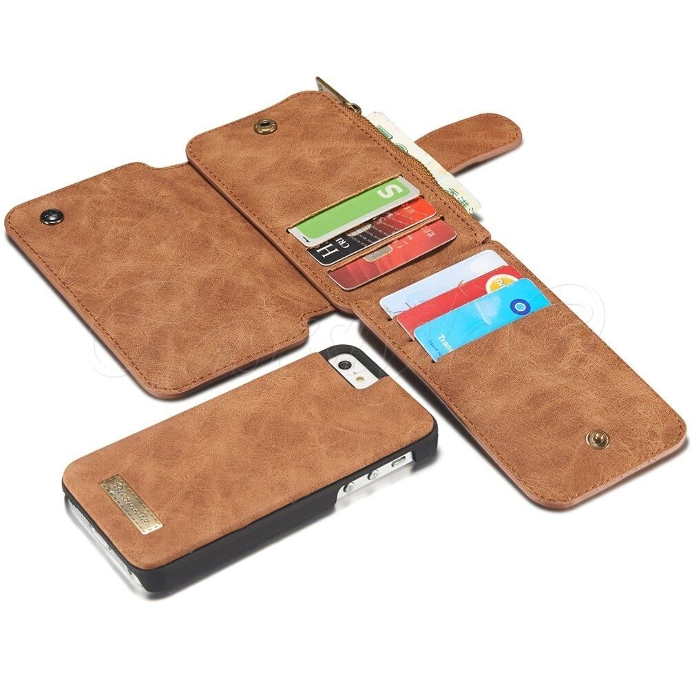 brand new f9315 447c1 iPhone SE 5S 5 Phone Leather Wallet Folio 8 Card Slots Zipper Pocket Case  Cover