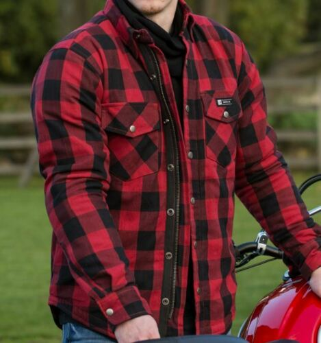 Merlin Axe Mens Zippered Motorcycle Motorbike Checked Shirt Black Red