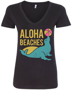Image Is Loading Aloha Beaches Women 039 S V Neck T Shirt