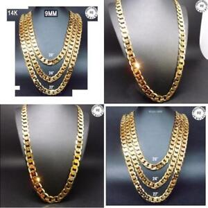 Image Is Loading 14k Gold Chain Necklace 9mm Smooth Cuban Curb