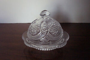Vintage-Clear-Crystal-Pinwheel-Cane-amp-Arch-Round-Covered-Butter-Dish