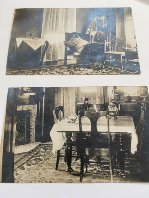 RPPC  Early 1900S Parlor Dining Room Home 2 Real Photographs Postcards Lot