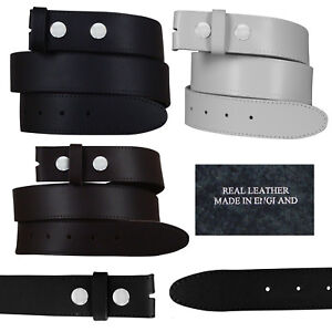NEW-MENS-REAL-LEATHER-SNAP-ON-BELTS-BLACK-BROWN-WHITE-NO-BUCKLE-SIZES-28-034-52-034