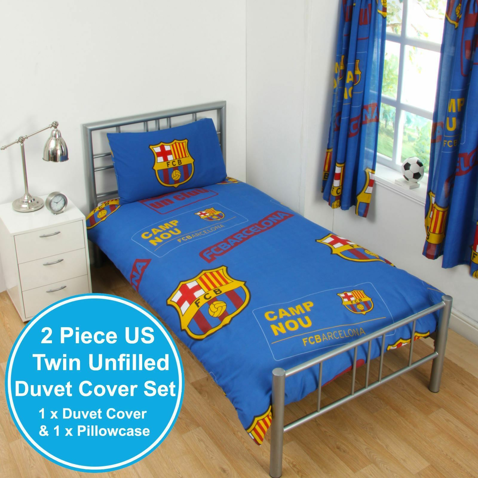 FC BARCELONA PATCH UK SINGLE   US TWIN UNFILLED DUVET COVER & PILLOWCASE SET NEW