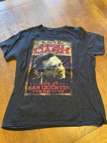 Johnny Cash Live At St. Quentin Shirt Sz L