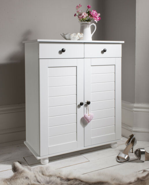 Shoe Storage Cabinet Cupboard with 2 Storage Drawers Heathfield in White