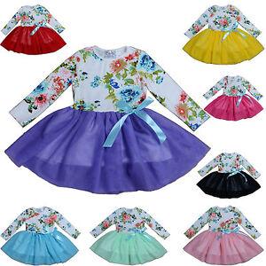 NEUF-filles-manches-longues-FLEUR-FETE-Robe-en-8-couleurs-12-18-mois-a-7-8-ans
