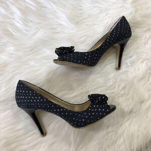 Details about Fioni Womens Polka Dot Peep Toe Pumps Size 6