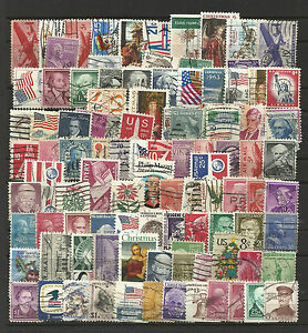 UNITED-STATES-USA-Collection-Packet-of-100-Different-Stamps-postmarked-Used