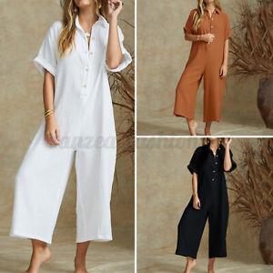 Mode-Femme-Combinaison-Boutons-Manche-Courte-Coton-Loisir-Ample-Pantalons-Plus