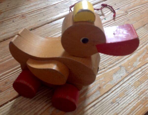 Altes Holzspielzeug, Ente Zum Ziehen 4.