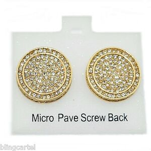30f1f6b59 Huge 19MM Round Hip Hop Earrings Iced-Out Gold Tone Screw Back Micro ...