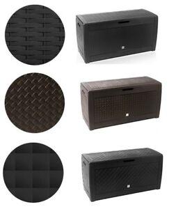Auflagenbox-Kiste-Aufbewahrung-Kissenbox-Riesengrosse-Gartenbox-Truhe-3-Muster