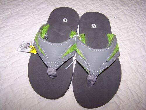 L Flat Foam Footbed~Revolution//$Gen~NWOT~QL1 2//3 Flip Flops~Gray /& Green