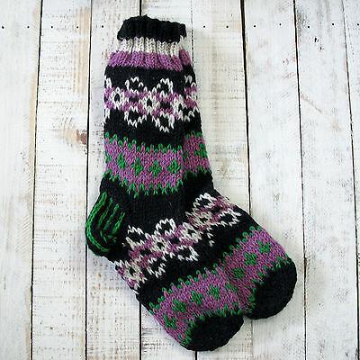 Consegna Veloce Funky Mano A Maglia Invernale Di Lana Makalu Socks-nero, Rosa E Verde-mostra Il Titolo Originale