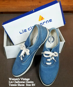 Vintage-Women-039-s-Liz-Claiborne-Denim-Tennis-Shoes-Sneakers-Kept-in-Box-Size-8N