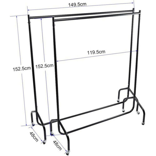 4 Wheels Mobile 5ft Garment Heavy Duty Rail Clothes Coat Hanging Display Stand