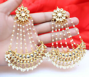 Details About Indian Ethnic Gold Plated Pearl Chand Wedding Bollywood Long Earrings Jewelry