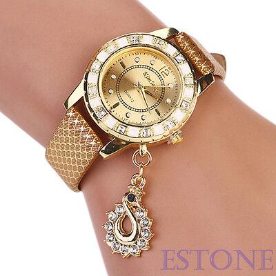 NEW Fashion Women Bracelet Bangle Faux Leather Crystal Quartz Analog Wrist Watch