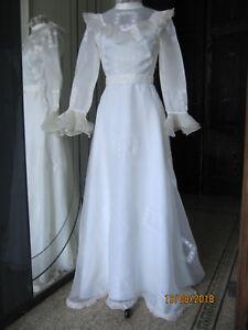 Vestiti Da Sposa Vintage.Abito Da Sposa Bianco Vintage Anni 70 Ebay