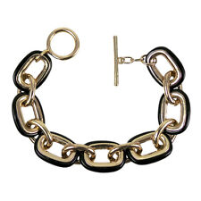 8 Inch two tone Black & Gold Color Link Bracelet with Toggle Clasp
