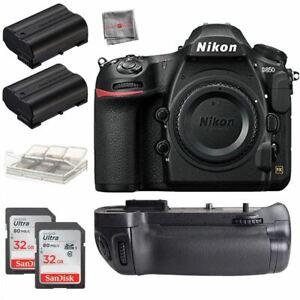 Nikon D850 45.7MP DSLR Camera Body + Battery Grip + 32gb Accessory Bundle New