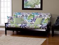 Bali Floral White Blue Green Sis Futon Cover Choose Size